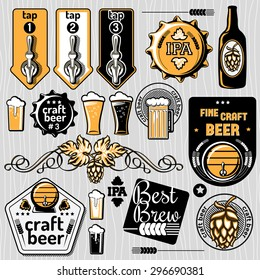 Set of vector craft beer emblems and design elements