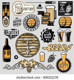 Set of vector craft beer emblems and design elements