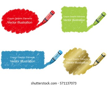 A set of vector crayon daub background graphic elements.