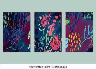 Set of vector creative artistic illustrations. Modern graphics for a greeting card, invite, web design.  Flowers and leaves in freehand style drawn with real markers, acrylic paint and felt- tip pens.