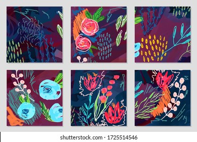Set of vector creative artistic illustrations. Modern graphics for a greeting card, invite, web design . Flowers and leaves in freehand style drawn with real markers, acrylic paint and felt- tip pens.