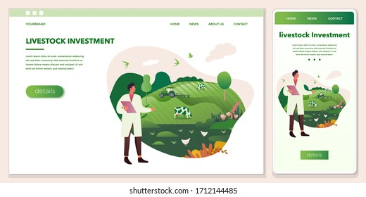 Set of vector cross-platform illustrations - an agronomist looks at agricultural fields. Tractor, farm animals a green background. Browser and mobile phone template