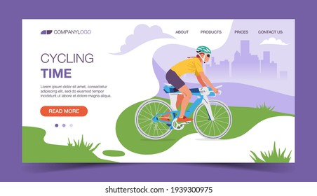 Set of vector cross-platform illustrations - man riding a bicycle. City and hills on a green background. Browser and mobile phone template with place for text.