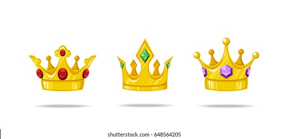 Set of vector crowns with gems ruby, emerald and sapphire. Decorative royal design elements isolated on a white background.