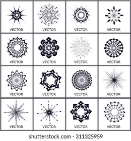 Set of vector, crystal objects. Objects to easily change color and can be used as snowflakes or other purposes at your request.