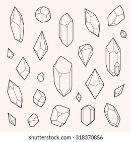 Set of vector crystal shapes, un-expanded strokes