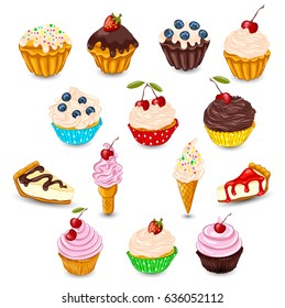 Set of vector cupcake, muffin, cheesecake, ice cream with fresh berries isolated on white. Sweet desserts as unhealthy food concept.
