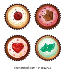 Set of vector cupcakes  with cherries, chocolate, strawberries and mint. Top view flat icon.