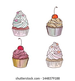 Set of vector cupcakes isolated on white backround. Eps 10 vector illustration.