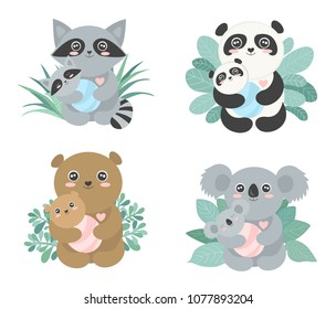 Set of Vector cute animal moms (panda, koala, bear, raccoon) with babies in the bushes. Happy Mother's Day. Baby book. Postcard.