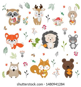 Set of vector cute animals in cartoon style.  A collection of small animals in the children's style.