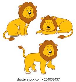 Set of vector cute animals (lion)