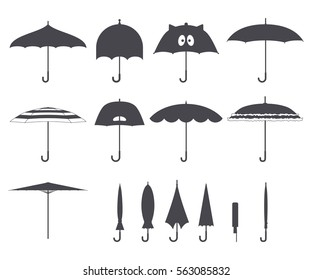 Set of vector cute black and white umbrellas in flat design style. Closed and open fashion icons. Cover accessory. Modern style. Protection from rain and sun