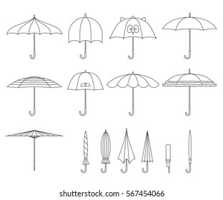 Set of vector cute black and white line umbrellas in flat design style. Closed and open fashion icons. Cover accessory. Modern style. Protection from rain and sun