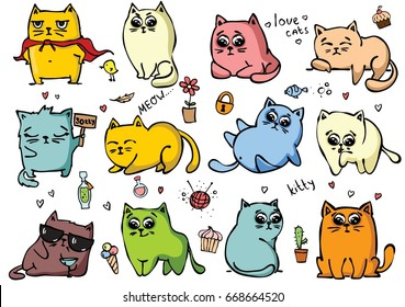 Set of vector cute cats in simple design for kid's greeting card design, t-shirt print, inspiration poster.
