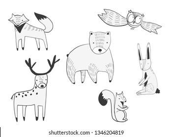 Set of vector cute doodle forest animals. Collection of black outline bear, deer, fox, squirrel, hare for kids print and pattern, stickers, app and book design