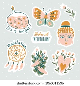 Set of vector cute doodles illustrations with text and graphic design elements. Trendy design for kid stickers, print for t-shirt.