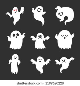 Set of vector cute Halloween ghosts icons
