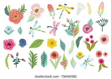 Set of vector cute hand drawn flowers and leaves.