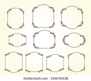Set of vector decorative  frames.