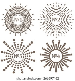 Set of Vector Decorative Labels: Circles and Rays. Geometrical Sun Burst Shapes on White. Monochrome Stars for Emblem Design