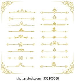 Set of vector decorative vintage gold thin dividers. Vintage elements for your design.