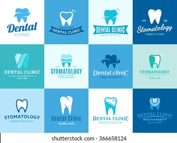 Set of vector dental clinic logo and icons