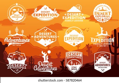 Set of vector desert and outdoor adventures logo on desert landscape background.