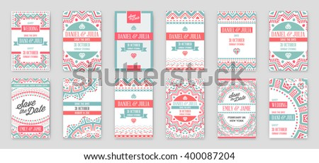Set Vector Design Awesome Wedding Invitation Stock Royalty