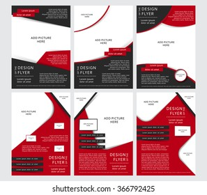 Set of Vector design of the black and red flyers, cover, brochure, poster, report with places for pictures. Vector templates for your business in A4 size.