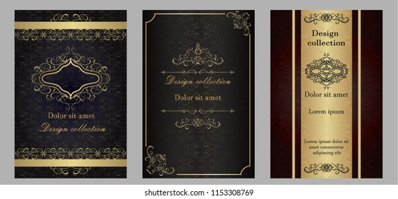 Set of vector design collection, elements labels icon and gold frames for packaging and design of luxury products