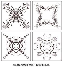 Set of vector Design Element. Square ornament decoration. Flower pattern. Stylized floral motif.  Complex flourish ornament decoration.