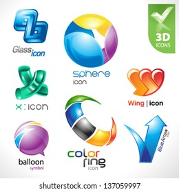 Set of vector design elements 18. 3D icons