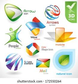 Set of vector design elements 21. 3D icons.