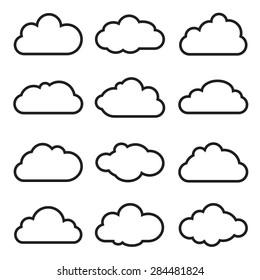 Set of Vector Design Elements. Clouds.