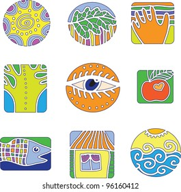 A set of vector design elements. Environment and people. / Set of vector design elements