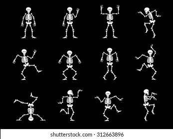 Set vector design elements: funny skeletons - dance and gymnastics isolated on black background.