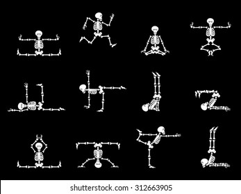 Set vector design elements: funny skeletons - gymnastics and yoga isolated on black background.