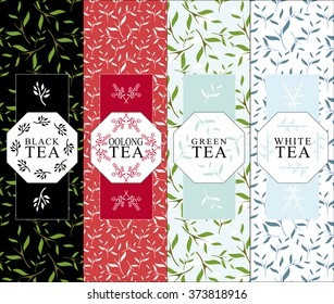 Set of vector design elements for packages. Herbal coloring background for black, oolong, green, white tea.  Symbol, frame from branch, leaves, berry. Black, red, blue color. Minimalistic flat style