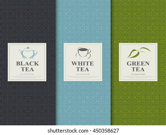 Set of vector design elements for packages green tea style.
