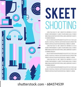 Set of vector design elements with place for text. Vector illustration. Shooting Skeet.
