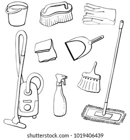 Set of vector design elements for spring cleaning outline. A bucket of water, a brush, a rag, rubber gloves, a broom, a scoop, an atomizer, a vacuum cleaner and a mop. Hand drawing in cartoon style.