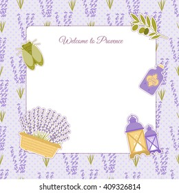 Set of vector design elements symbol of Provence, France. Lavender, lavender, cicadas, olive oil, lantern. It can be used for travel cards, invitations, posters  with space for your text