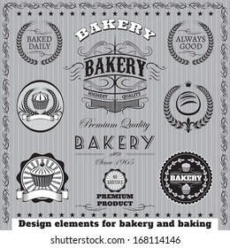 set of vector design elemnt icons for  baking and bakery