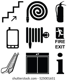 Set of vector design of elevator, stair way, radio mobile, lift, fire hose, fire extinguisher and emergency  fire exit sign. Building site attention sign for the safety, exit and alert of others.