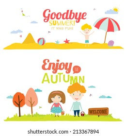 Set of vector design seamless banners in a cute and cartoon style with place for text. Bright background with funny animals and happy kids welcome to school. Goodbye summer. Hello autumn.