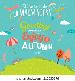 Set of vector design seamless banners in a cute and cartoon style with place for text. Bright background with funny animals and happy kids. Time to hide warm socks. Goodbye summer. Hello autumn.
