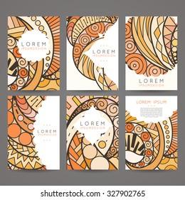 Set of vector design templates. Brochures in random colorful style. Vintage frames and backgrounds. Zentangle designs.