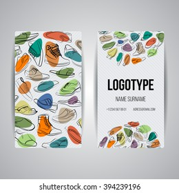 Set of vector design templates. Brochures in random colorful style. Frames and backgrounds. Business card with shoes and boots ornament.