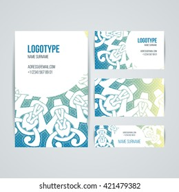 Set of vector design templates. Brochures in random colorful style. Vintage frames and backgrounds. Business card with floral circle ornament. Mandala style.